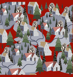seamless pattern with winter mountain landscape vector image