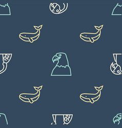 Set line macaw parrot whale and eagle head on vector