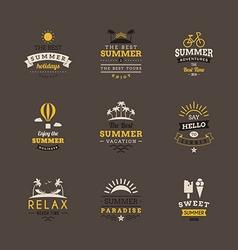 set retro summer holidays vintage label design vector image