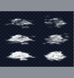 Set transparent white clouds vector