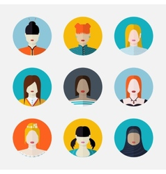 set women avatars in flat style different vector image