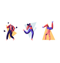 set young people dancing on disco party men vector image