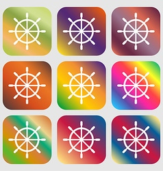 Ship steering wheel icon Nine buttons with bright vector