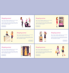 shopping women in stores and brand shops vector image