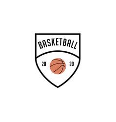 simple basketball shield logo emblem vector image