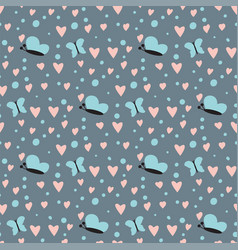 simple heart sharp butterfly seamless vector image