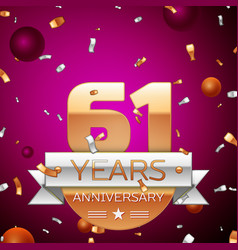 sixty one years anniversary celebration design vector image