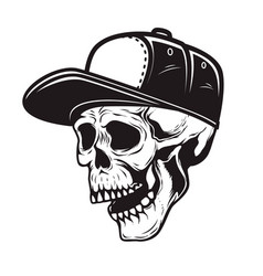 skull in baseball cap in monochrome style design vector image