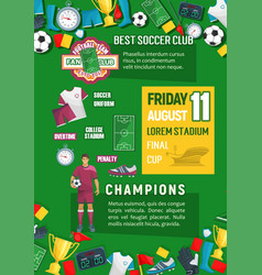 soccer or football championship match banner vector image