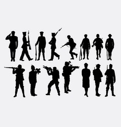 soldier army and police silhouette vector image