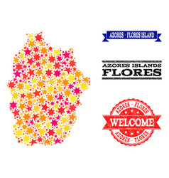 Star mosaic map azores - flores island and vector
