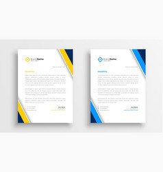 Stylish letterhead yellow and blue theme design vector