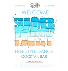 summer disco party typography poster vector image