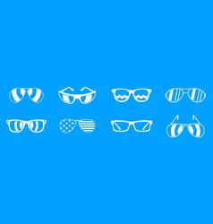 sun glasses icon blue set vector image