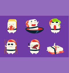 sushi and sashimi cartoon characters set asian vector image