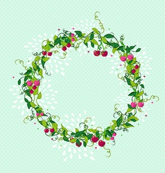 Sweet cherry wreath cute vector
