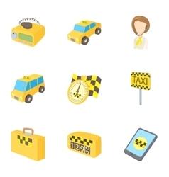 Taxi custom icons set cartoon style vector