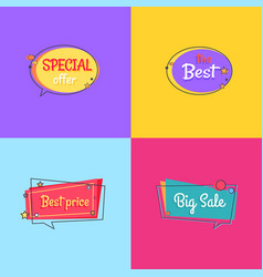 the best special offer price sale set of posters vector image
