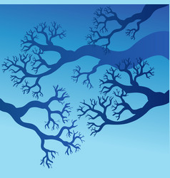 Tree branches with blue sky vector