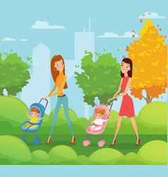 two mothers with kids vector image