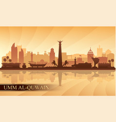 umm al-quwain city skyline silhouette background vector image