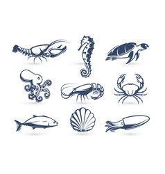 underwater world icon collection engraving vector image