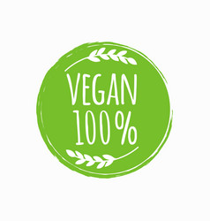 Vegan round logo bio eco food design vector