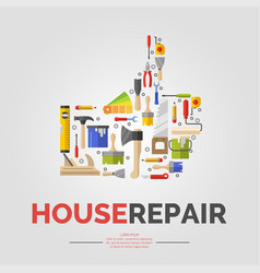 White poster with hand of tools for house repair vector