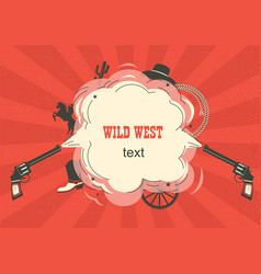 Wild west with cowboy guns and burst space vector