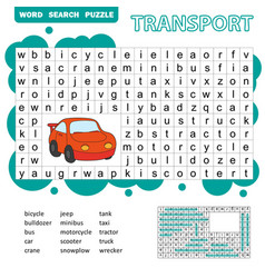 Word search puzzle for children transport theme vector
