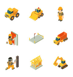 working class icons set isometric style vector image
