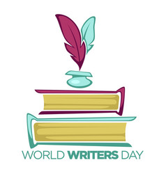 World writers day literature holiday isolated icon vector