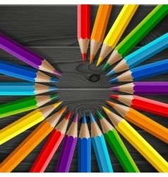 Circle of rainbow colored pencils with realistic vector image vector image