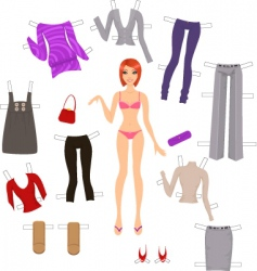 dress up paper doll vector image vector image