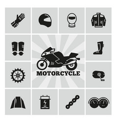 moto parts motorcycle accessories silhouette icons vector image vector image