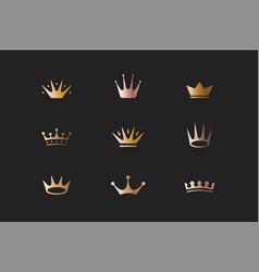 set of royal gold crowns icons and logos vector image