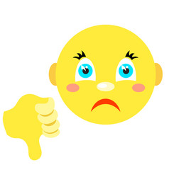 smiley with thumb thumb down vector image vector image