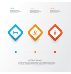Exploration icons set collection of suitcase vector