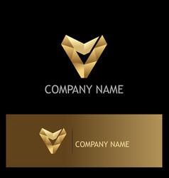 letter v triangle gold company logo vector image