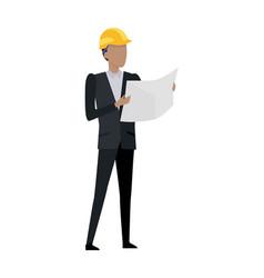 man in black suit and yellow helmet blueprint vector image