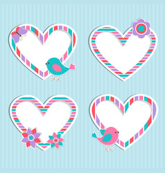 set of cute frames-hearts with birdflower and vector image