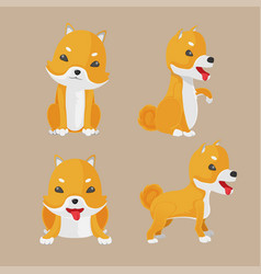 shiba inu dog cartoon set vector image vector image