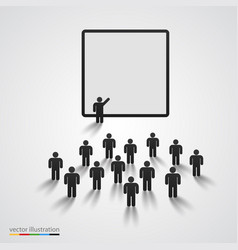 silhouette of people on presentation vector image vector image