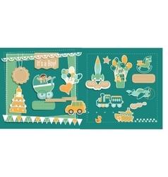 Baby Boy Shower ScrapBook Elements Set vector image