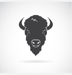 buffalo head design on white background wild vector image vector image