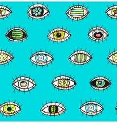 Eyes sketchy hand drawn outline colorful seamless vector image vector image