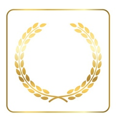 Gold laurel wreath white vector image vector image