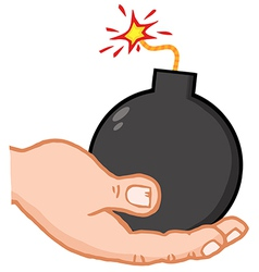 Hand Holding Bomb vector image