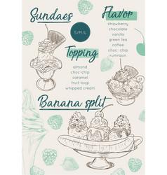 ice cream menu place mat food restaurant brochure vector image