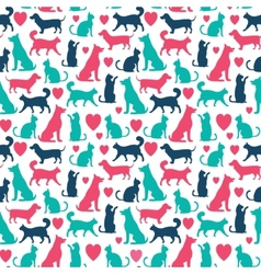 seamless pattern with cats and dogs vector image vector image